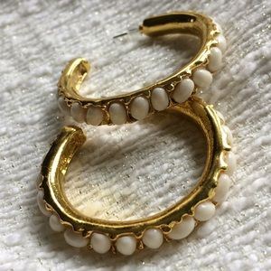 Kenneth Jay Lane Gold Faux Pearl cabochon Hoops